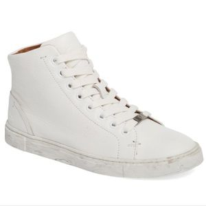 FRYE Ivy High Top Sneaker In White Leather 6